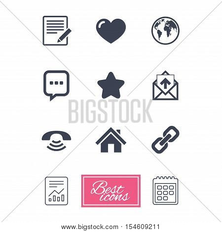 Mail, contact icons. Favorite, like and internet signs. E-mail, chat message and phone call symbols. Report document, calendar icons. Vector