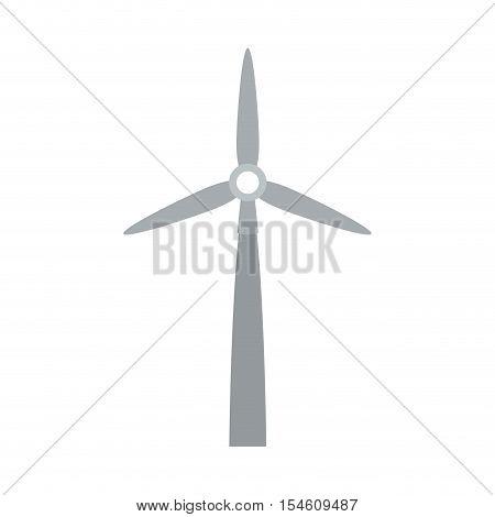 gray silhouette wind power generator vector illustration