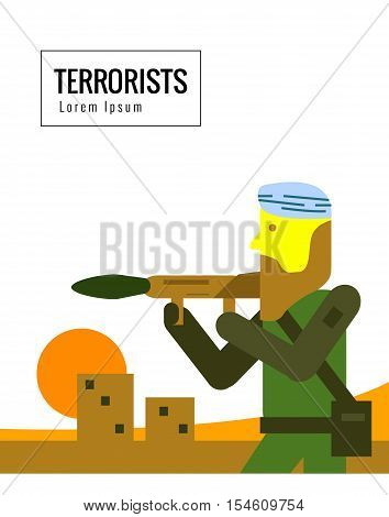 Terrorist with weapons. flat character vector illustration