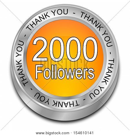 2000 Followers Thank you - 3D illustration
