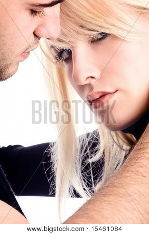 woman and man in love, on white background