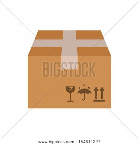 cardboard box pack, closed parcel box, package paper box flat design isolated on white background vector illustration.