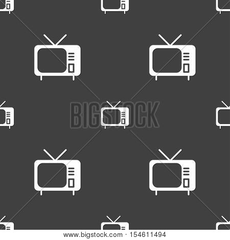 Tv Icon Sign. Seamless Pattern On A Gray Background. Vector