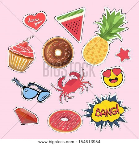 Stickers and patches set. Vector set of fashionable patches. Set of stickers pins patches in cartoon 80s-90s comic style. Modern jeans patches.