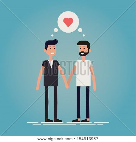 Gay romance concept flat vector illustration. Gay male couple standing smiling and holding hands with thought bubble with heart symbol over their head. Igbt stock vector.