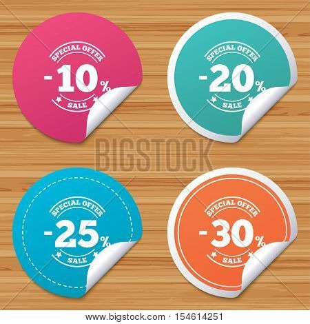 Round stickers or website banners. Sale discount icons. Special offer stamp price signs. 10, 20, 25 and 30 percent off reduction symbols. Circle badges with bended corner. Vector