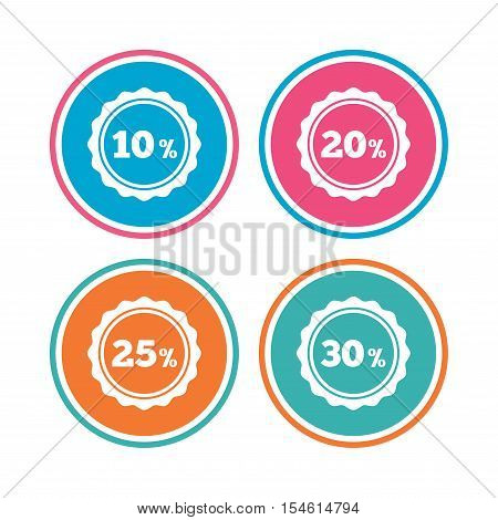 Sale discount icons. Special offer stamp price signs. 10, 20, 25 and 30 percent off reduction symbols. Colored circle buttons. Vector