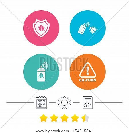 Bug disinfection icons. Caution attention and shield symbols. Insect fumigation spray sign. Calendar, cogwheel and report linear icons. Star vote ranking. Vector