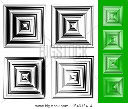 Concentric Squares Geometric Element. Set Of 4 Version.