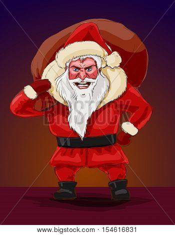 Evil santa claus vector illustration. Terrible Christmas nightmare