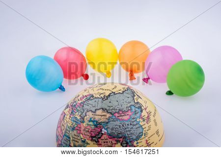 Color Balloons And The Half A Globe