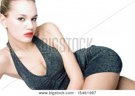young blond fashion model in short dress