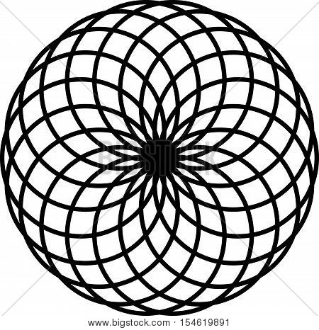 Circular Geometric Spiral. Abstract Monochrome Design Element