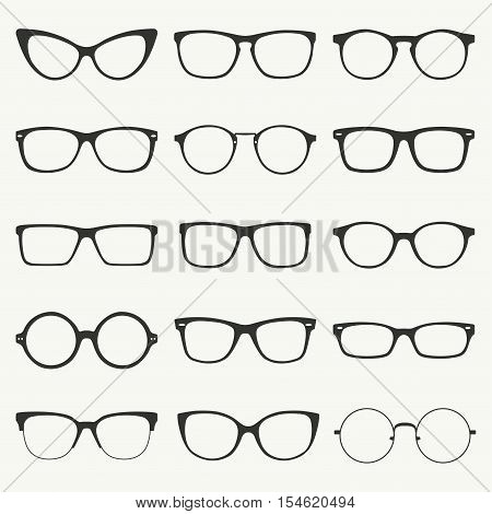 Glasses silhouette vector set. Collection of different of rim types - hipster retro vintage modern classic.