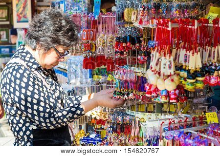Tokyo Japan - 20 October 2016: Tourists at Sensō-ji have shopped at the small stores. the history culture Heritage in Asakusa district Tokyo Japan