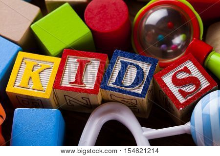 Kids block, toys collection on colorful background