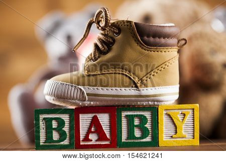 Baby block, toys collection on colorful background