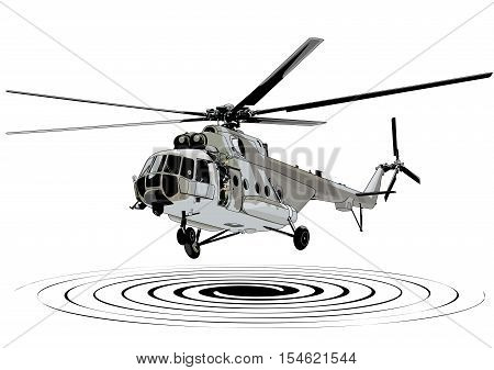 Helicopter landing illustration art vector transportation theme.