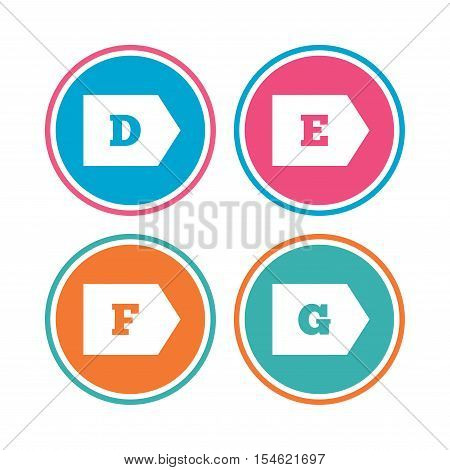 Energy efficiency class icons. Energy consumption sign symbols. Class D, E, F and G. Colored circle buttons. Vector
