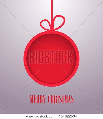 Christmas paper card with hanging toy. Vector illustration.