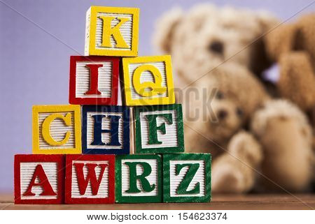 Bock, toys collection on colorful background