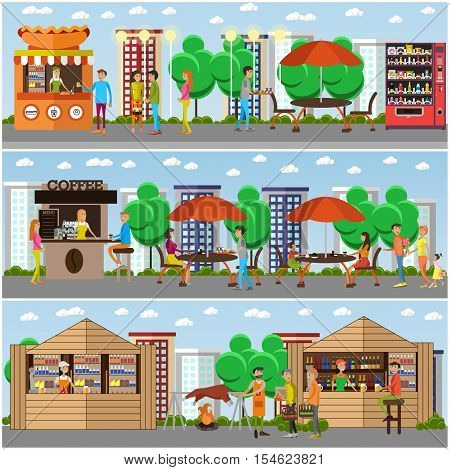 Street food festival concept vector banner. People sell food from stalls in park. Street cafe concept.