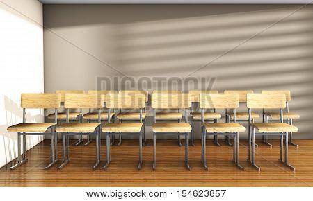 Vintage university classroom with equation solution on blackboard 3D Render