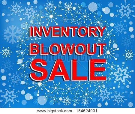 Big winter sale poster with INVENTORY BLOWOUT SALE text. Advertising blue and red r banner template