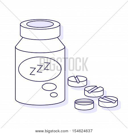 Sleeping pills with three Z Isolated on White Background. Vector outline illustration.