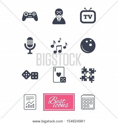 Entertainment icons. Game, bowling and puzzle signs. Casino, carnival and musical note symbols. Report document, calendar icons. Vector