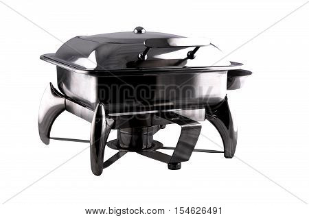 chafing dish made of stainless steel isolated on white background