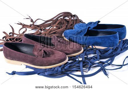 stylish male leather loafers. blue and beige two pairs shoes isolated on white background. Handmade Shoes