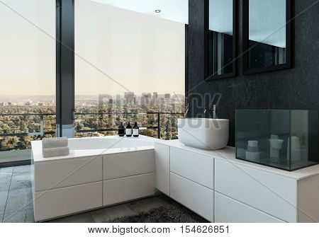 Stylish luxury urban bathroom interior with bathtub and hand basin in white cabinets in front of panoramic view windows overlooking a city, 3d rendering