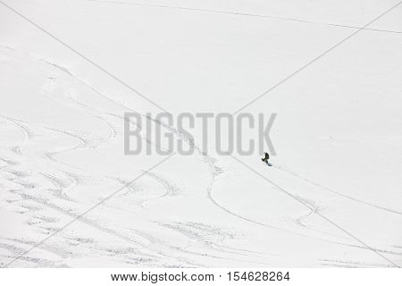 Snowboard freeriding in Alps. Extreme winter sports.
