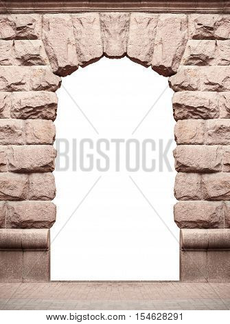 stone old arch isolated on white background with place for text.