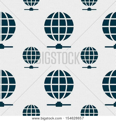 Website Icon Sign. Seamless Pattern With Geometric Texture. Vector