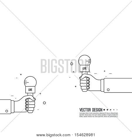 Journalism concept. Live news template with microphone. Journalist holding mic. interview, reporter, press, interviewer, media, paparazzi. Vector Linear design