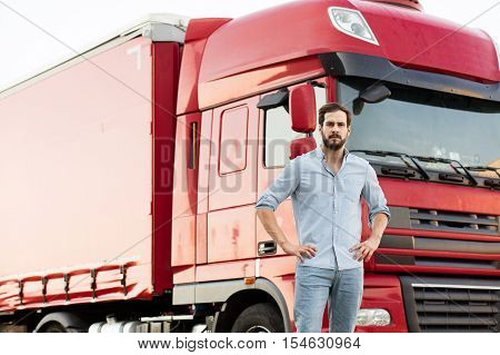Truck Driver With His Vehicle Outside