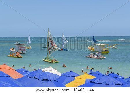 PORTO GALINHAS, BRAZIL, JANUARY - 2016 - Sunny day at tropical beach in Porto Galinhas Pernambuco Brazil