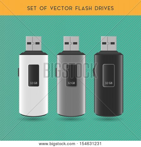 Set Of Vector White Gray And Black Flash Drives On A Gray Background