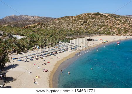 Vai Beach, Greece - October 13, 2016: People are resting on the famous Vai beach in autumn time