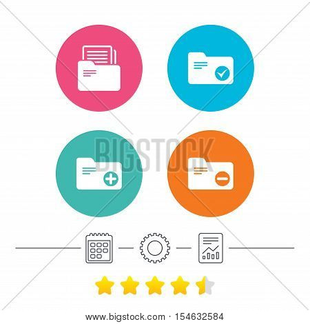 Accounting binders icons. Add or remove document folder symbol. Bookkeeping management with checkbox. Calendar, cogwheel and report linear icons. Star vote ranking. Vector