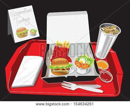 Burger Box Set have soft dring egg salad French fries chilli tomato sauce tissue paper in red tray Have promotion banner for your advertisement background isolate and clipping paths.