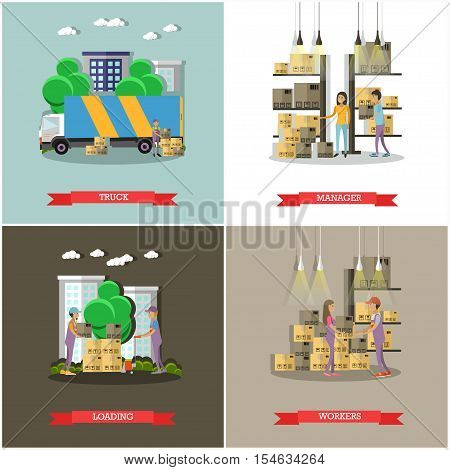 Logistic and delivery service concept banners. Warehouse workers. Vector illustration in flat style design. Delivery man working in warehouse and shipping products.