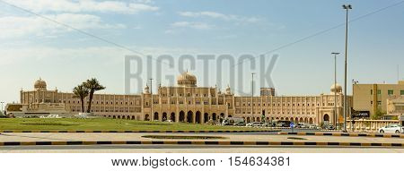 SHARJAH, UAE - OCTOBER 10, 2016: Typical Arabic architecture in modern government buildings in the heart of Sharjah emirate