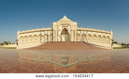 SHARJAH, UAE - OCTOBER 10, 2016: A typical Traditional arabic architecture of the Cultural Palace in Sharjah in high resolution panorama