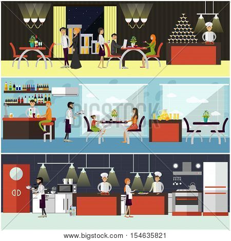 Vector set of banners with restaurant interiors. People having lunch in cafe. Kitchen, dining room and cafe.