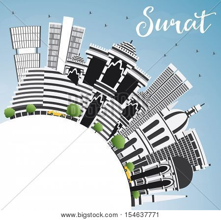 Surat Skyline with Gray Buildings, Blue Sky and Copy Space. Vector Illustration. Business Travel and Tourism Concept with Historic Architecture. Image for Presentation Banner Placard and Web Site.