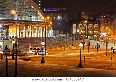 LIVERPOOL 31st OCTOBER 2016. A view of Lime Street Liverpool UK at night