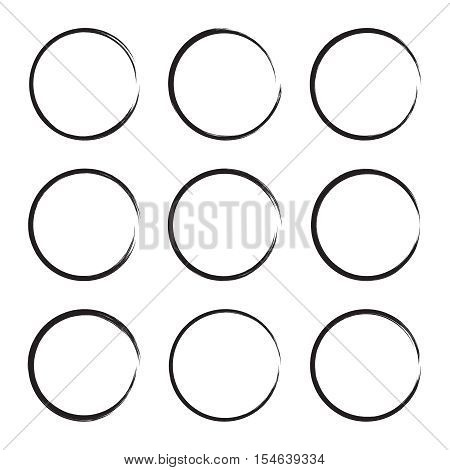 Set hand drawn ovals, circle, curve frame. Text box from smears. Vector  Black stroke border border  felt-tip pen.